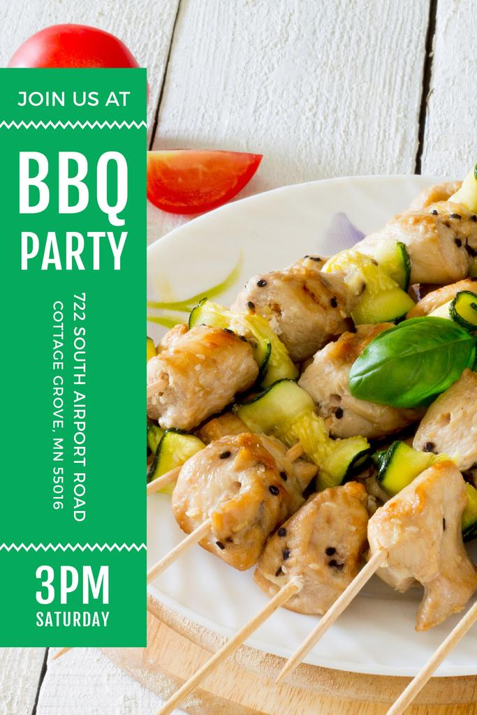 BBQ Party Invitation with Grilled Chicken on Skewers — Crear un diseño