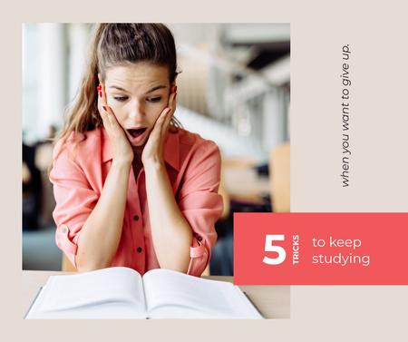 Plantilla de diseño de Girl learning Studying tips Facebook