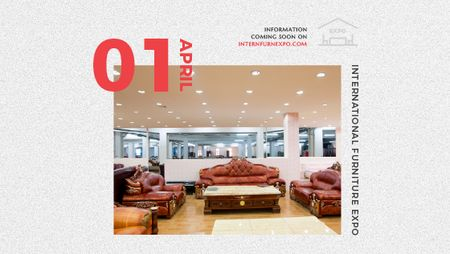 Plantilla de diseño de Furniture Expo invitation with modern Interior Title