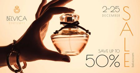 Ontwerpsjabloon van Facebook AD van Sale Offer with Woman Holding Perfume Bottle