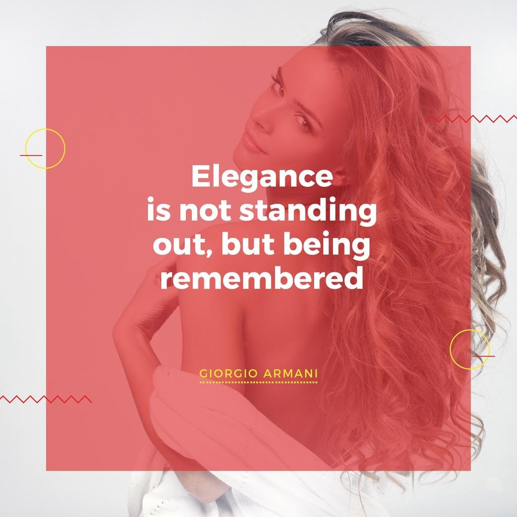Citation about Elegance with Young Woman — Maak een ontwerp