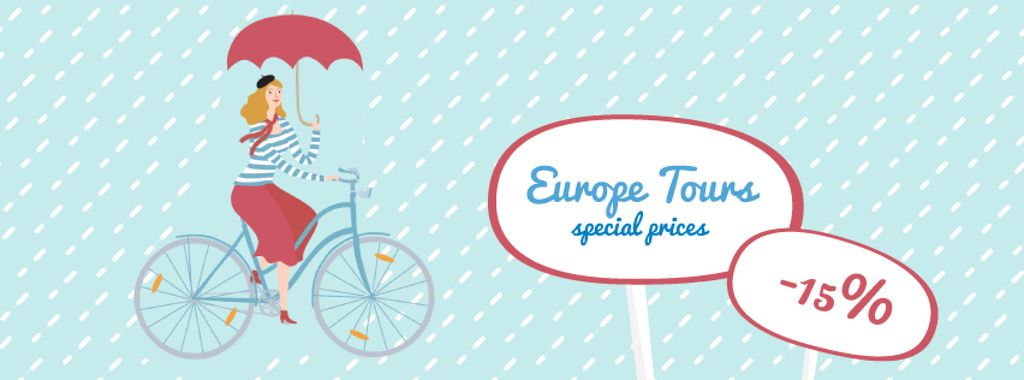 Woman riding in bike with umbrella — Crea un design