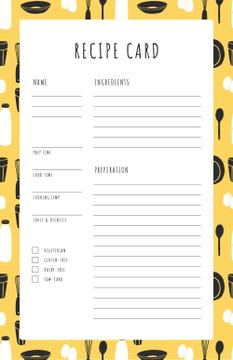 Cutlery pattern on Yellow