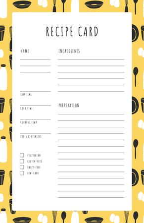 Modèle de visuel Cutlery pattern on Yellow - Recipe Card