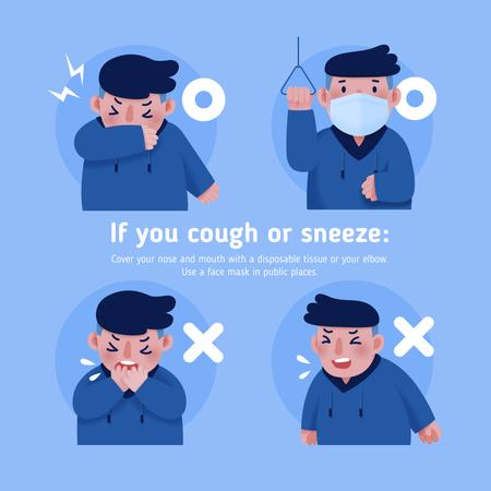 Plantilla de diseño de Covid-19 prevention instruction with Man sneezing Instagram