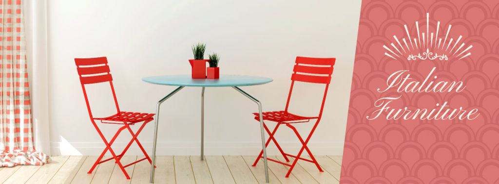 Furniture Advertisement with Red Chairs by Table - Bir Tasarım Oluşturun