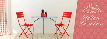 Furniture Advertisement Red Chairs by Table | Facebook Cover Template