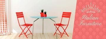 Furniture Advertisement Red Chairs by Table