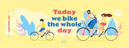 Ontwerpsjabloon van Facebook cover van Family riding bikes in city