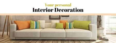 Ontwerpsjabloon van Facebook cover van Interior decoration with Sofa in room