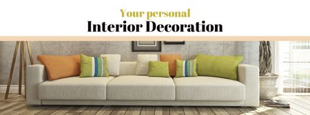 Plantilla de diseño de Interior decoration with Sofa in room Facebook cover