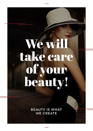Beauty Services Ad with Fashionable Woman Flayer Modelo de Design