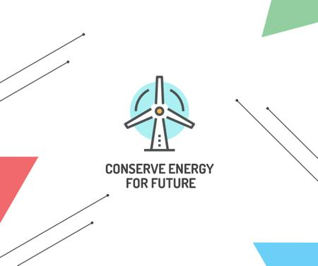Plantilla de diseño de Green Energy Wind Turbine icon Facebook