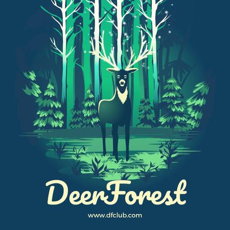 Magical deer in forest Animated Postデザインテンプレート