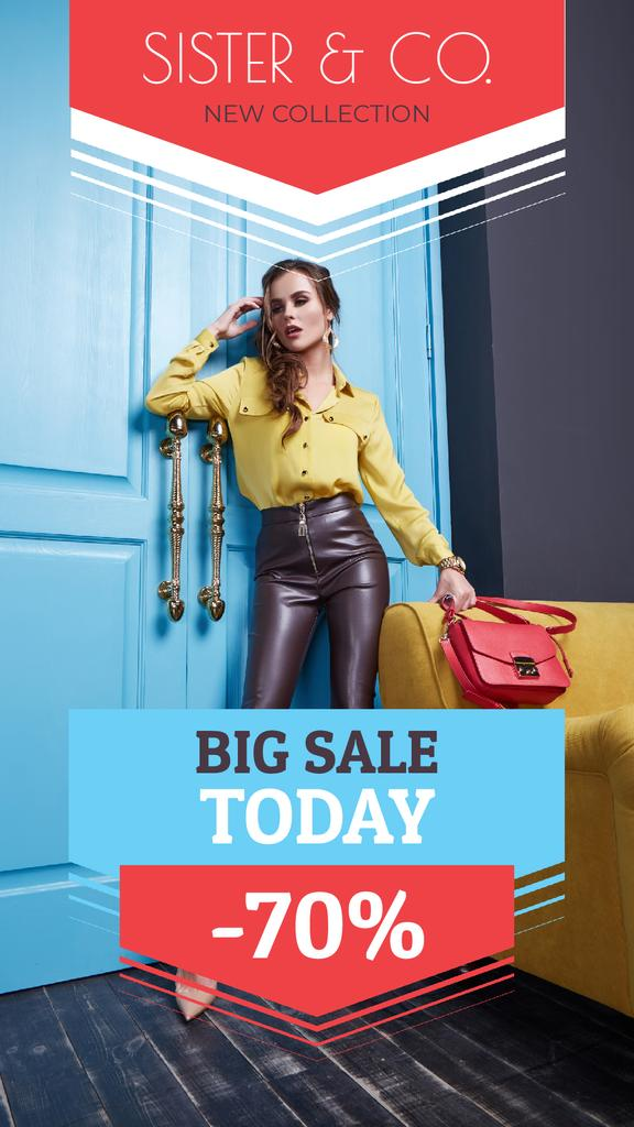 Fashion Sale Attractive Woman in Stylish Clothes | Vertical Video Template — Modelo de projeto