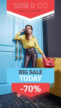 Fashion Sale Attractive Woman in Stylish Clothes | Vertical Video Template