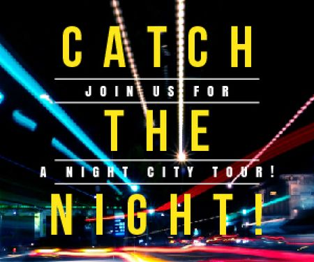 Plantilla de diseño de Night City Tour Invitation Traffic Lights Medium Rectangle