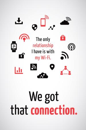 Template di design Wi-fi connection icons Pinterest
