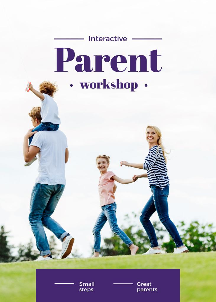 Parents with Kids having fun outdoors — Создать дизайн