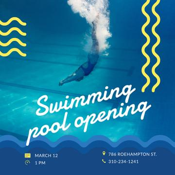 Swimming Pool Opening Announcement Swimmer Diving | Instagram Post Template
