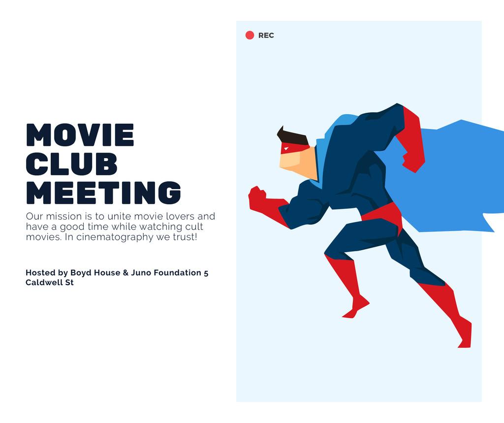 Movie Club Meeting Man in Superhero Costume — Create a Design