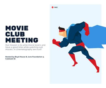 Movie Club Meeting Man in Superhero Costume | Facebook Post Template