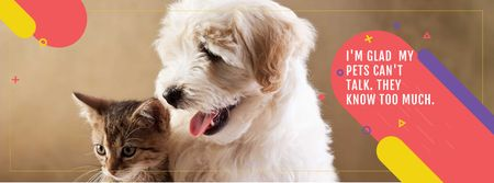 Pets Quote Cute Dog and Cat Facebook cover Modelo de Design