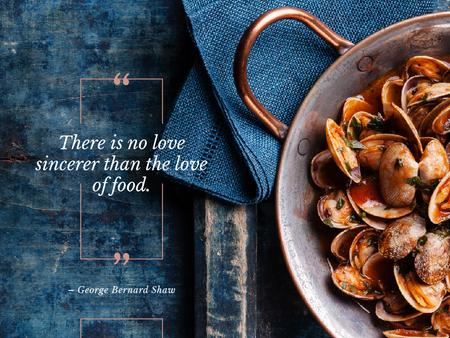 Plantilla de diseño de Citation about Food with Mussels Presentation
