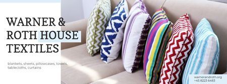 Ontwerpsjabloon van Facebook cover van Home Textiles Ad with Pillows on Sofa