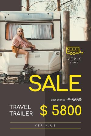 Plantilla de diseño de Camping Trailer Sale with Woman in Van Pinterest
