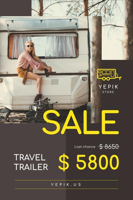 Camping Trailer Sale with Woman in Van Pinterest Design Template