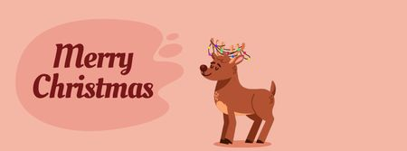 Jumping happy Christmas deer Facebook Video cover – шаблон для дизайну