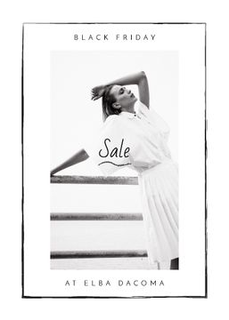 Black Friday Sale Woman Wearing White Clothes | Flyer Template
