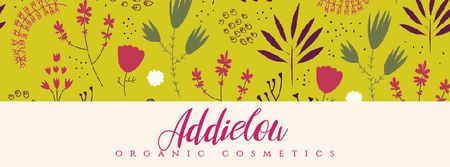 Organic Cosmetics ad with Flower doodles on yellow  Facebook Video cover Tasarım Şablonu