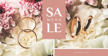 Template di design Wedding Offer Rings on Flower Facebook AD