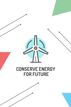 Ontwerpsjabloon van Pinterest van Conserve Energy with Wind Turbine Icon