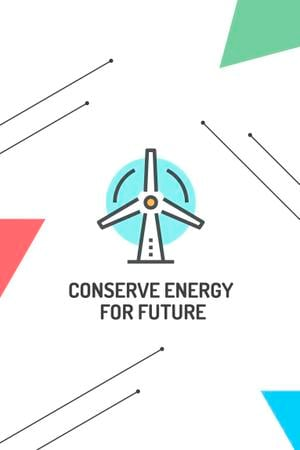 Conserve Energy with Wind Turbine Icon Pinterest Modelo de Design