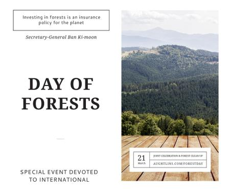 Plantilla de diseño de International Day of Forests Event Scenic Mountains Facebook