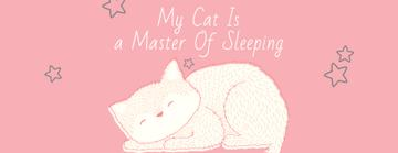 Cute Cat Sleeping in Pink | Facebook Cover Template