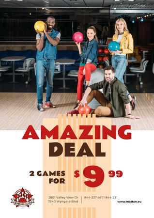 Plantilla de diseño de Bowling Offer Couple with Ball Poster