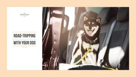 Designvorlage Road tripping with dog für Presentation Wide