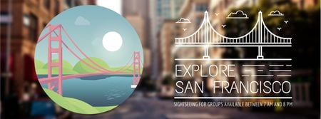 Travelling San Francisco icon Facebook Video cover Modelo de Design