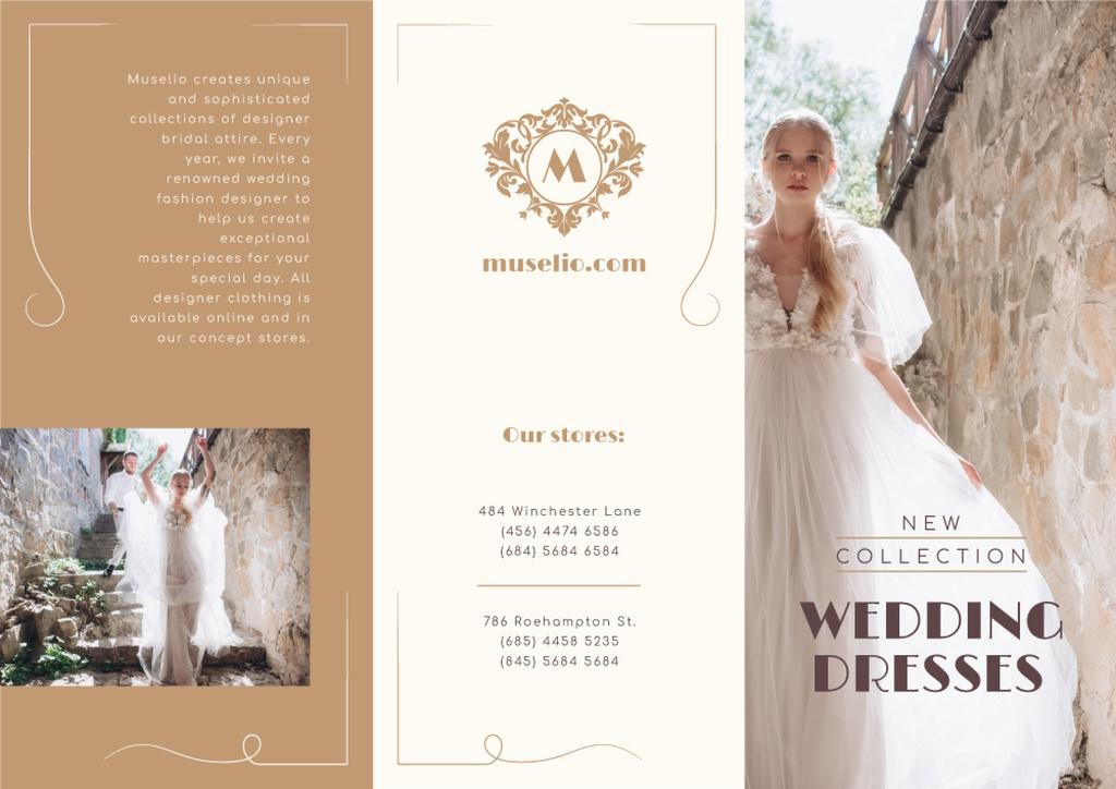 Wedding Dresses New Collection Ad with Beautiful Bride Brochure Modelo de Design