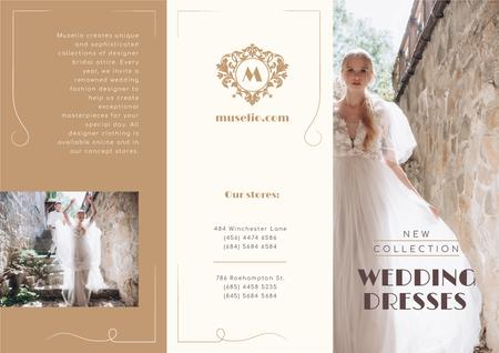 Template di design Wedding Dresses New Collection Ad with Beautiful Bride Brochure