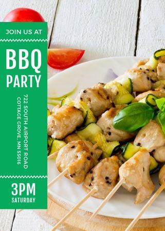 Plantilla de diseño de BBQ Party Grilled Chicken on Skewers Flayer