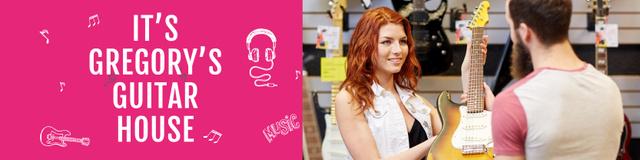 Guitar Shop Ad with Female Consultant Twitter Tasarım Şablonu