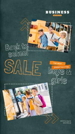Designvorlage Back to School Sale Kids by School Bus für Instagram Video Story