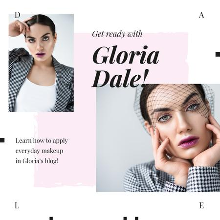 Plantilla de diseño de Young Woman with Fashionable Makeup Instagram AD