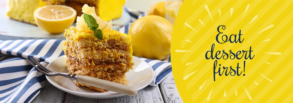 Delicious Lemon Dessert on Plate with Fork | Tumblr Banner Template — Створити дизайн