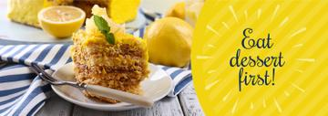 Delicious Lemon Dessert on Plate with Fork | Tumblr Banner Template